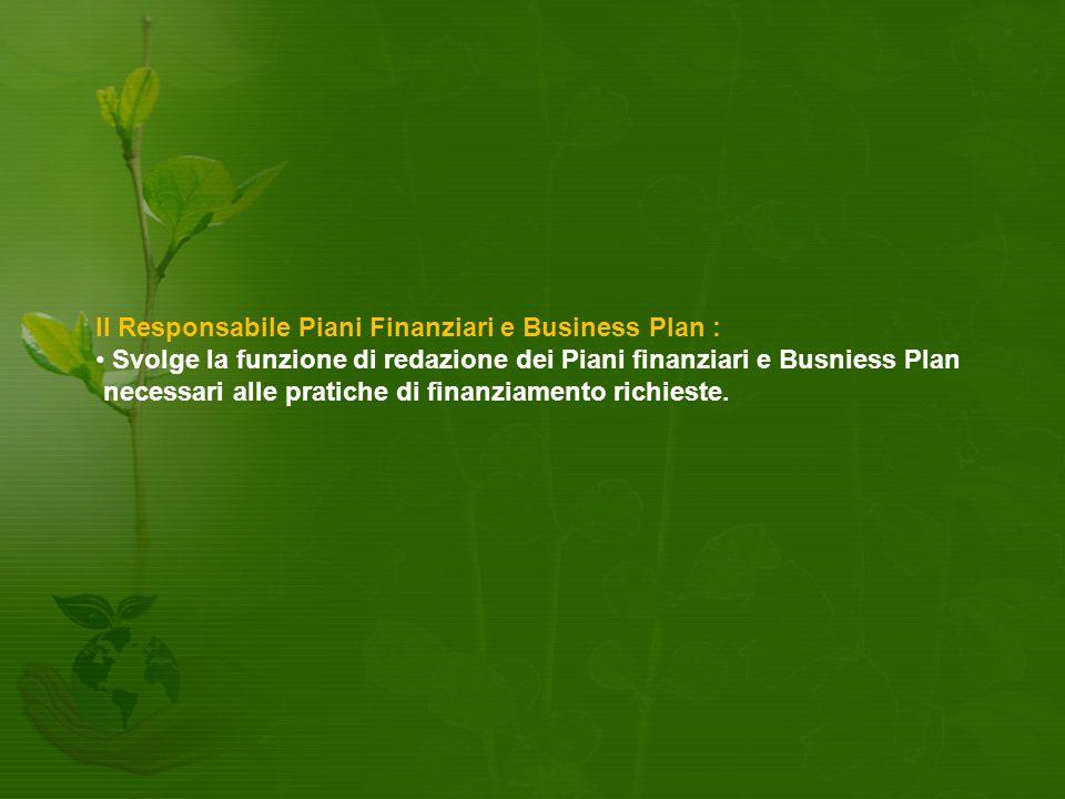 Il Responsabile Piani Finanziari e Business Plan : Svolge la funzione di redazione dei Piani finanziari e Busniess Plan necessari alle pratiche di finanziamento richieste.