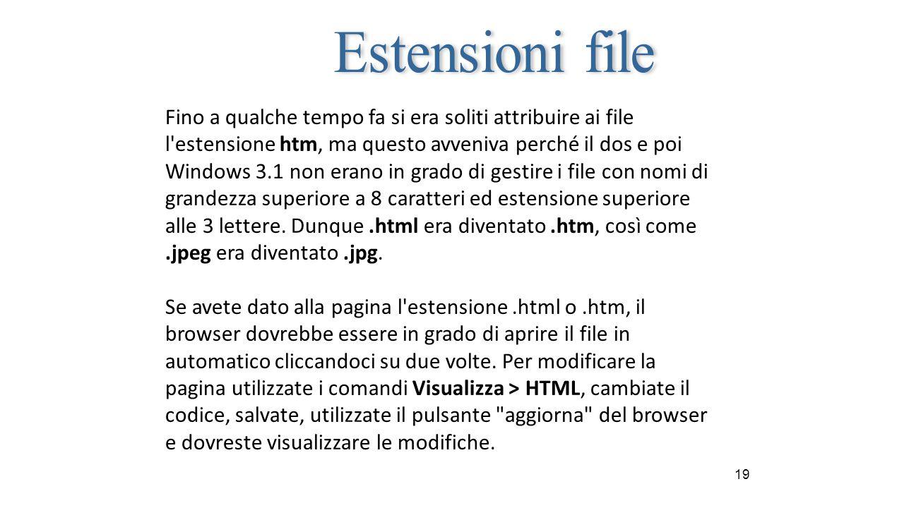 19 Fino a qualche tempo fa si era soliti attribuire ai file l estensione htm, ma questo avveniva perché il dos e poi Windows 3.1 non erano in grado di gestire i file con nomi di grandezza superiore a 8 caratteri ed estensione superiore alle 3 lettere.