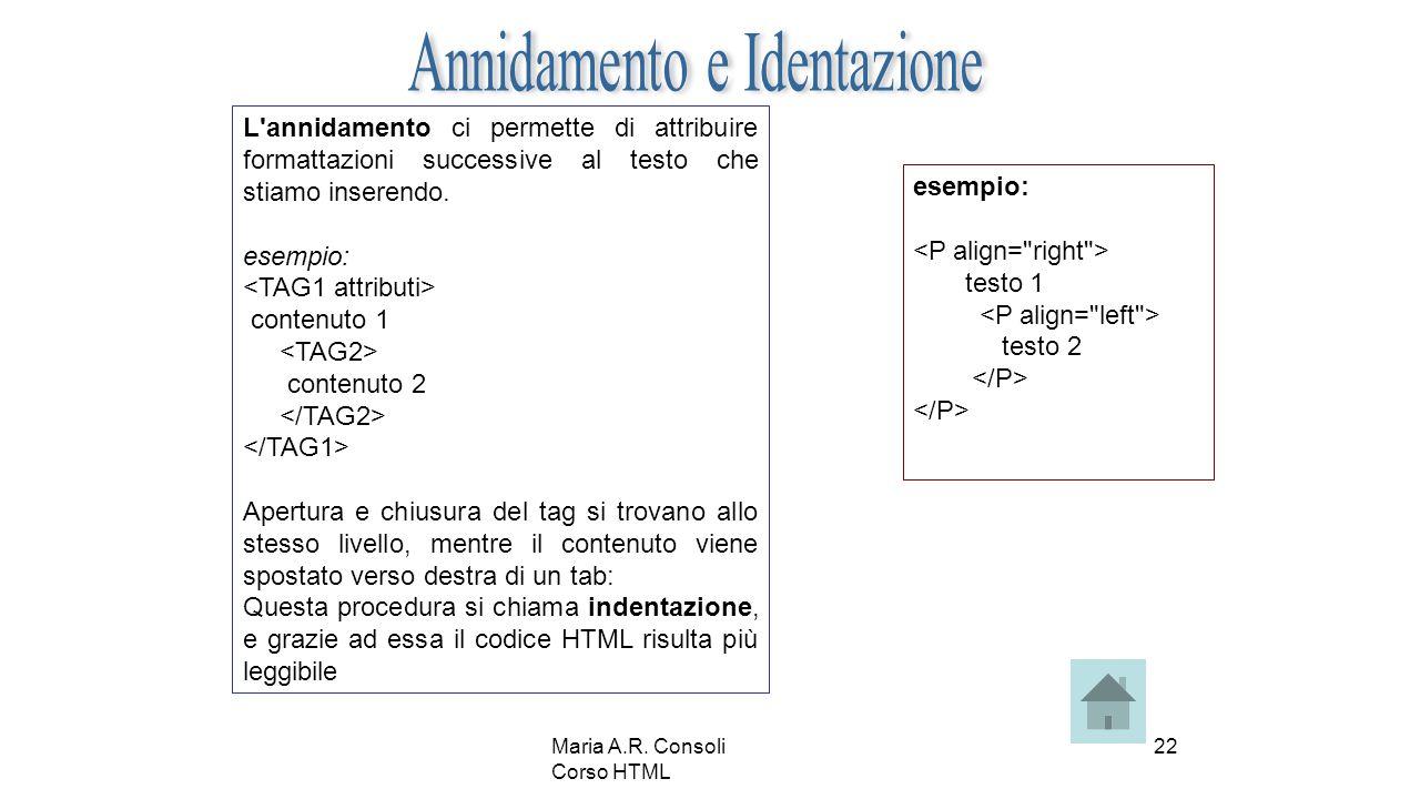 Maria A.R. Consoli Corso HTML 22 L'annidamento ci permette di attribuire formattazioni successive al testo che stiamo inserendo. esempio: contenuto 1