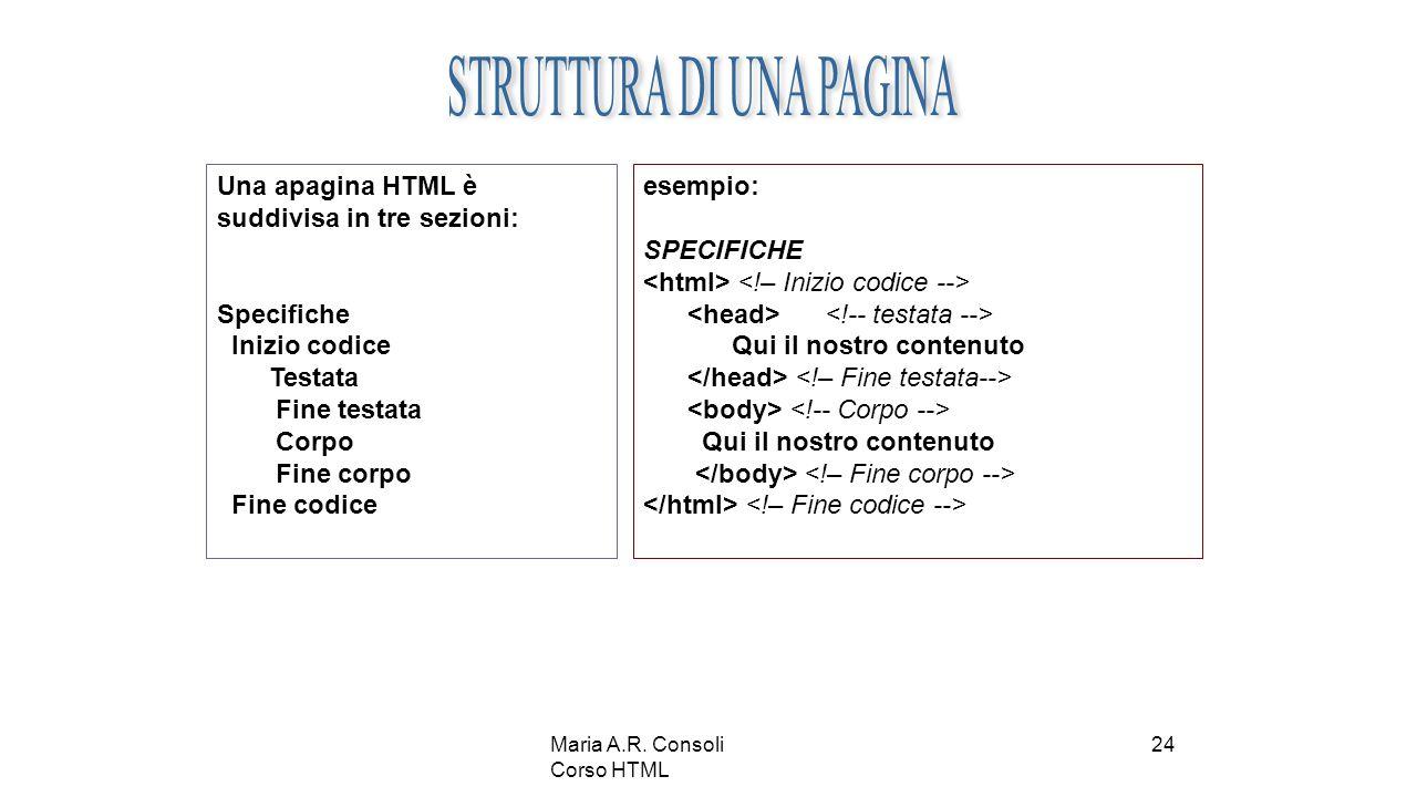 Maria A.R. Consoli Corso HTML 24 Una apagina HTML è suddivisa in tre sezioni: Specifiche Inizio codice Testata Fine testata Corpo Fine corpo Fine codi