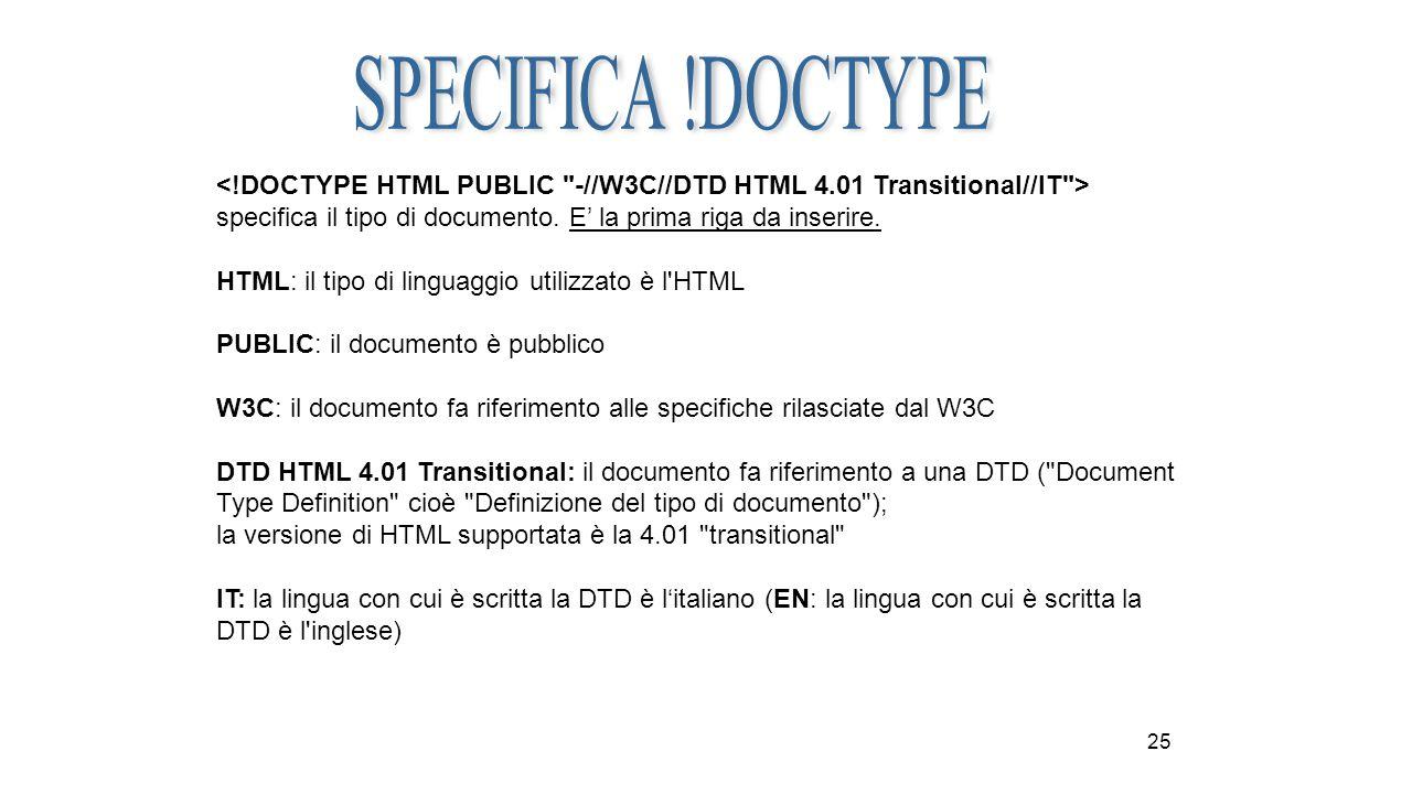 25 specifica il tipo di documento. E' la prima riga da inserire. HTML: il tipo di linguaggio utilizzato è l'HTML PUBLIC: il documento è pubblico W3C: