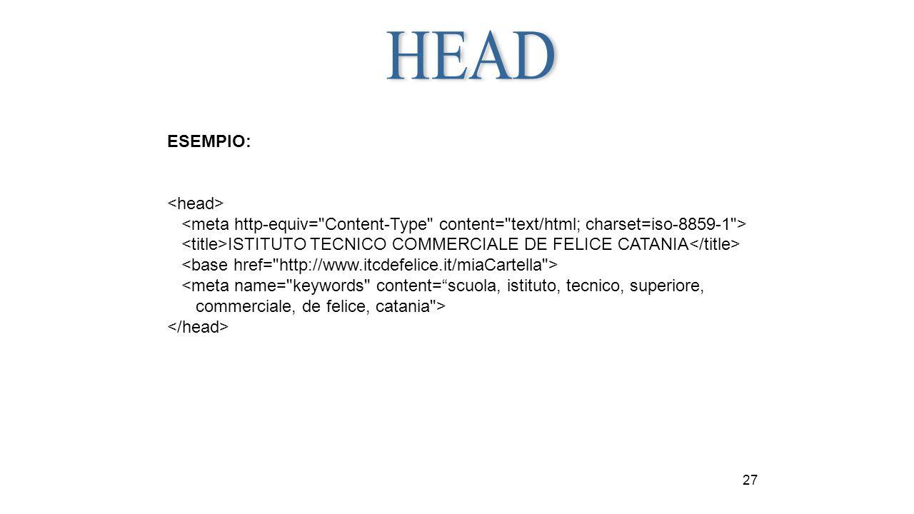 27 ESEMPIO: ISTITUTO TECNICO COMMERCIALE DE FELICE CATANIA <meta name=