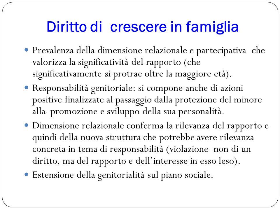 Diritto di crescere in famiglia 18 Prevalenza della dimensione relazionale e partecipativa che valorizza la significatività del rapporto (che signific