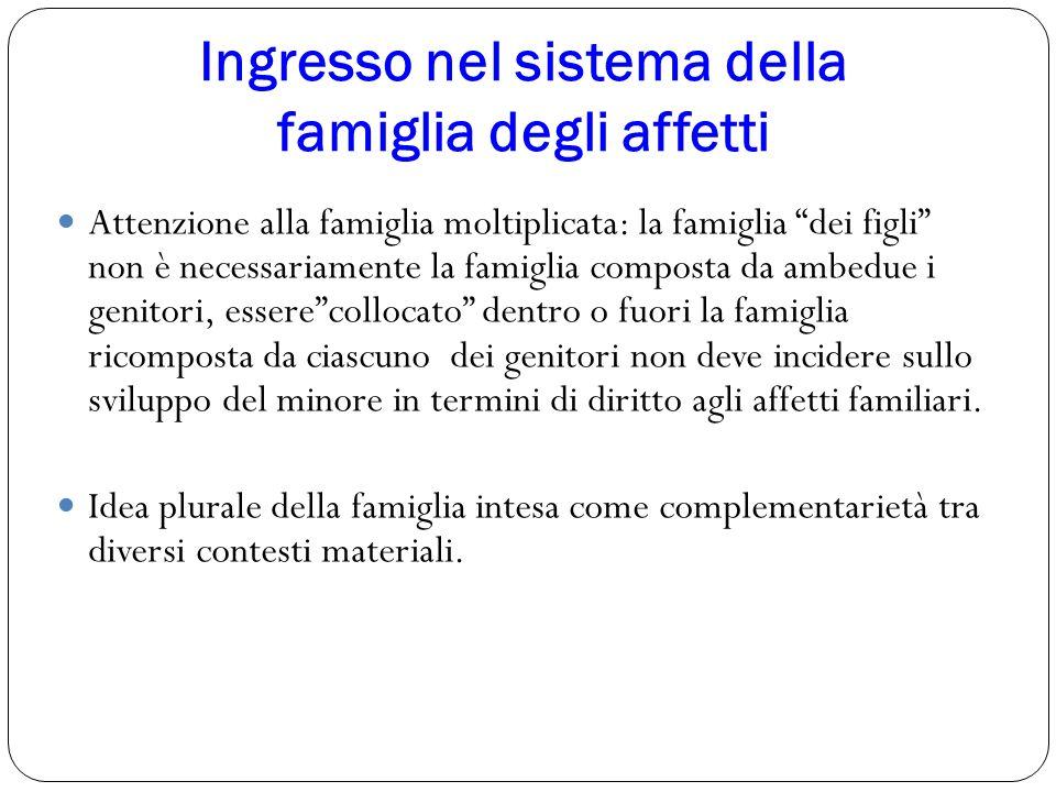 """Ingresso nel sistema della famiglia degli affetti Attenzione alla famiglia moltiplicata: la famiglia """"dei figli"""" non è necessariamente la famiglia com"""