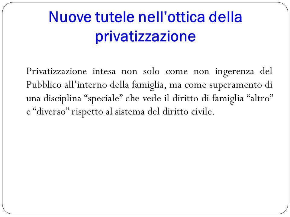 Nuove tutele nell'ottica della privatizzazione Privatizzazione intesa non solo come non ingerenza del Pubblico all'interno della famiglia, ma come sup