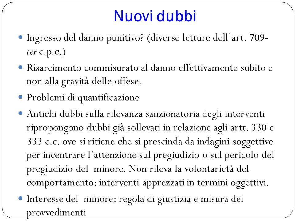 Nuovi dubbi Ingresso del danno punitivo? (diverse letture dell'art. 709- ter c.p.c.) Risarcimento commisurato al danno effettivamente subito e non all