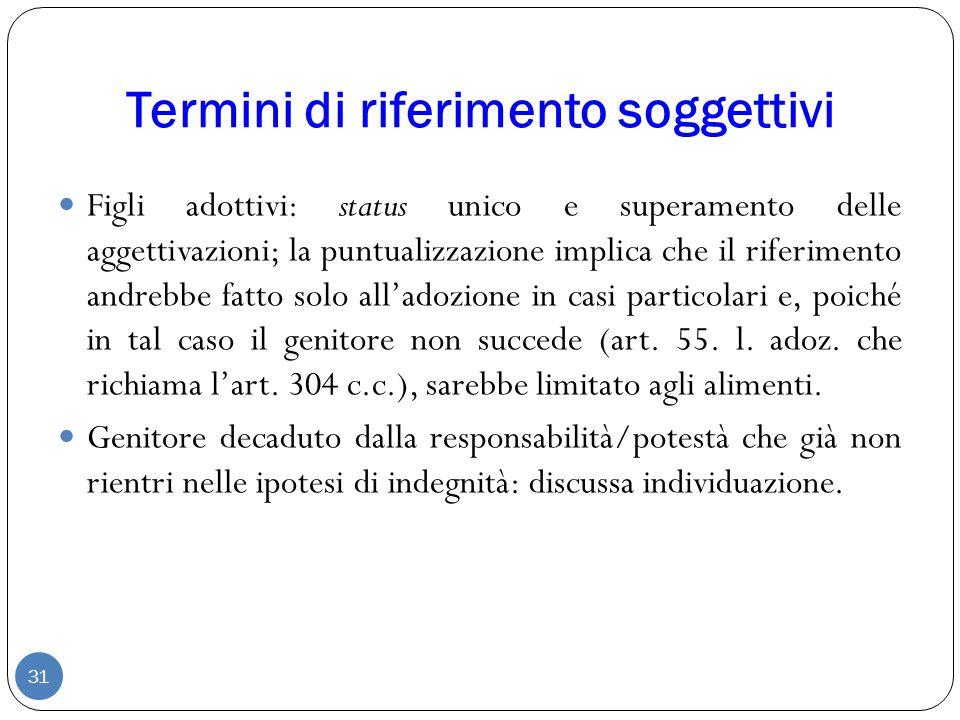 Termini di riferimento soggettivi 31 Figli adottivi: status unico e superamento delle aggettivazioni; la puntualizzazione implica che il riferimento a