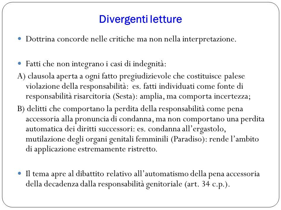 Divergenti letture Dottrina concorde nelle critiche ma non nella interpretazione. Fatti che non integrano i casi di indegnità: A) clausola aperta a og