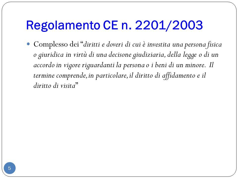 """Regolamento CE n. 2201/2003 5 Complesso dei """"diritti e doveri di cui è investita una persona fisica o giuridica in virtù di una decisone giudiziaria,"""