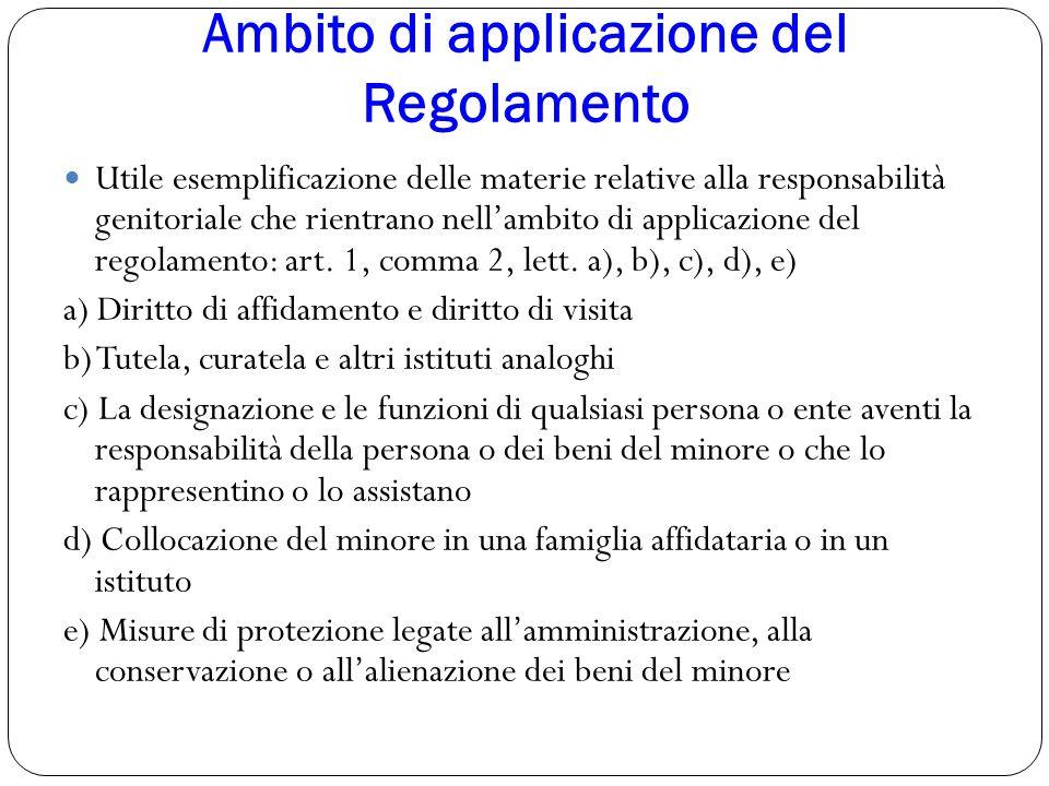 Ambito di applicazione del Regolamento Utile esemplificazione delle materie relative alla responsabilità genitoriale che rientrano nell'ambito di appl