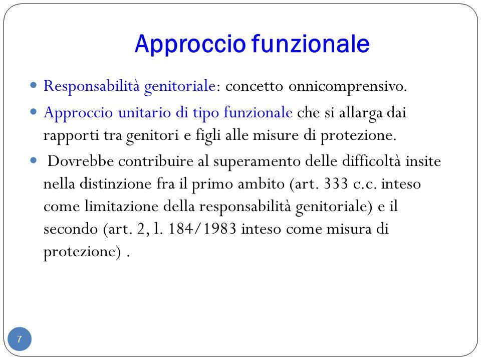 Approccio funzionale 7 Responsabilità genitoriale: concetto onnicomprensivo. Approccio unitario di tipo funzionale che si allarga dai rapporti tra gen