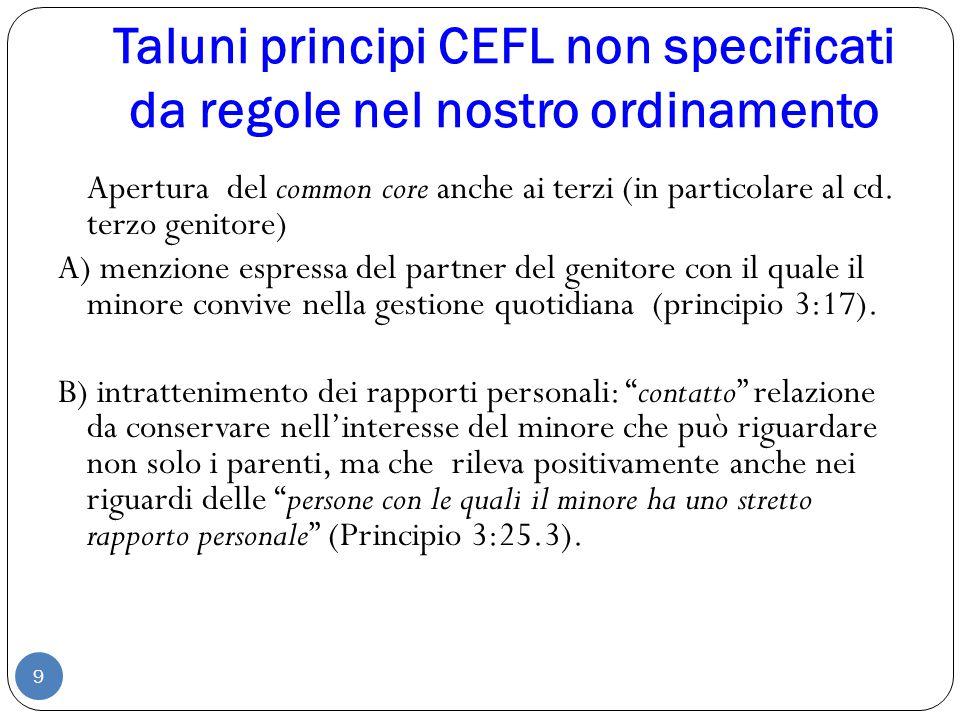 Taluni principi CEFL non specificati da regole nel nostro ordinamento 9 Apertura del common core anche ai terzi (in particolare al cd. terzo genitore)
