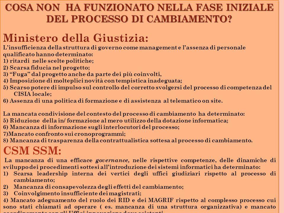 COSA NON HA FUNZIONATO NELLA FASE INIZIALE DEL PROCESSO DI CAMBIAMENTO.
