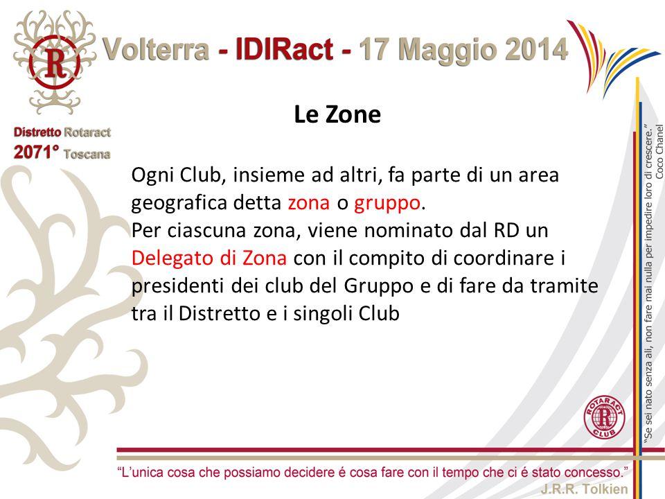 Le Zone Ogni Club, insieme ad altri, fa parte di un area geografica detta zona o gruppo. Per ciascuna zona, viene nominato dal RD un Delegato di Zona