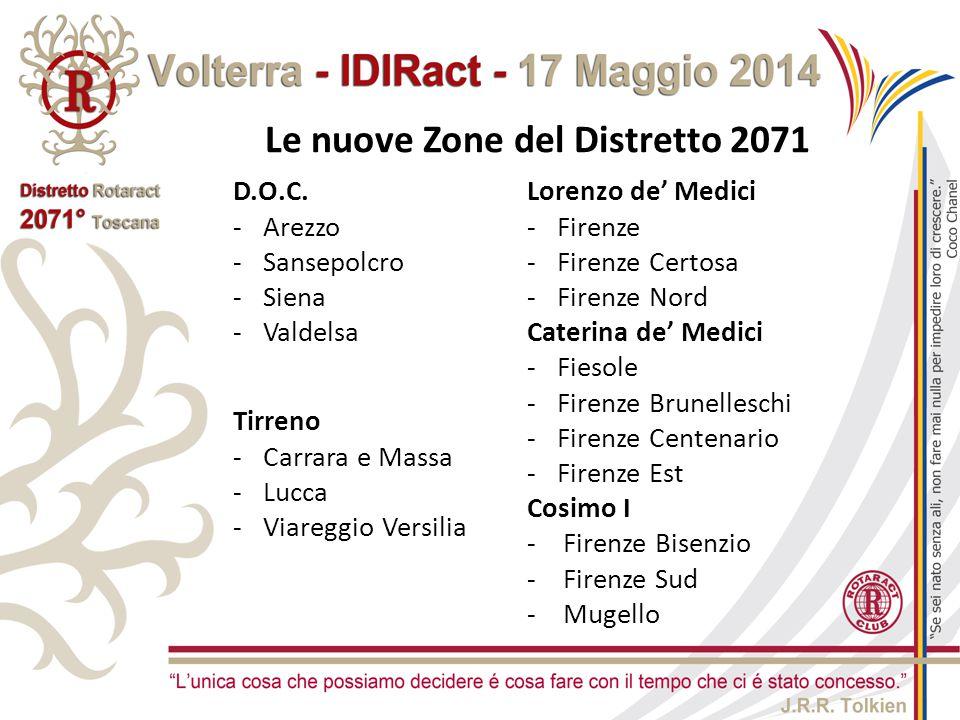 Le nuove Zone del Distretto 2071 D.O.C. -Arezzo -Sansepolcro -Siena -Valdelsa Lorenzo de' Medici -Firenze -Firenze Certosa -Firenze Nord Caterina de'