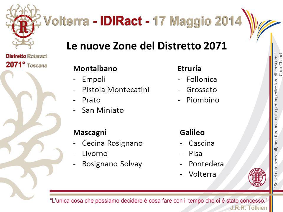 Le nuove Zone del Distretto 2071 Montalbano -Empoli -Pistoia Montecatini -Prato -San Miniato Mascagni -Cecina Rosignano -Livorno -Rosignano Solvay Gal