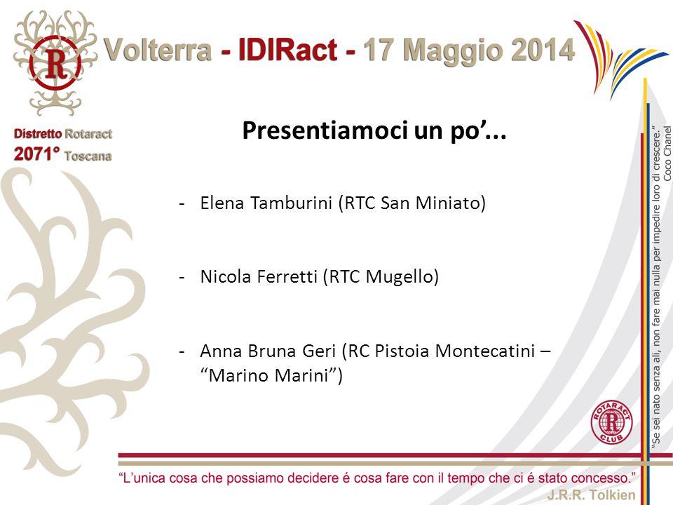 """-Elena Tamburini (RTC San Miniato) -Nicola Ferretti (RTC Mugello) -Anna Bruna Geri (RC Pistoia Montecatini – """"Marino Marini"""") Presentiamoci un po'..."""