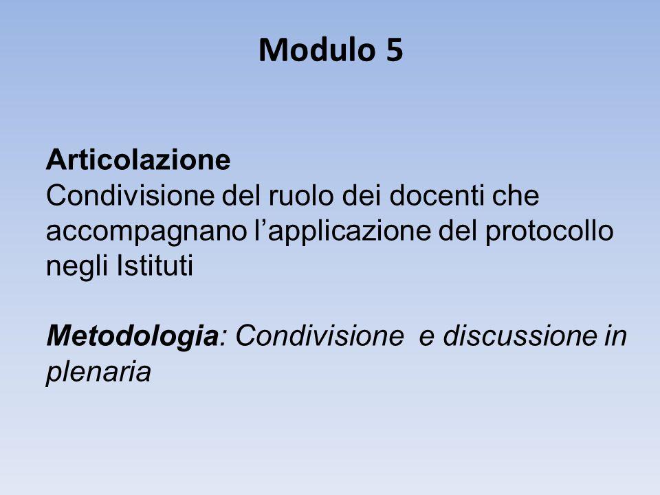 Modulo 5 Articolazione Condivisione del ruolo dei docenti che accompagnano l'applicazione del protocollo negli Istituti Metodologia: Condivisione e discussione in plenaria