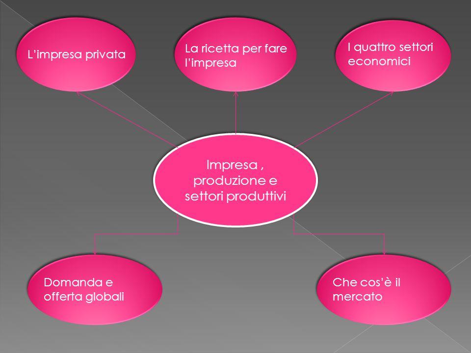 Impresa, produzione e settori produttivi L'impresa privata La ricetta per fare l'impresa I quattro settori economici Domanda e offerta globali Che cos