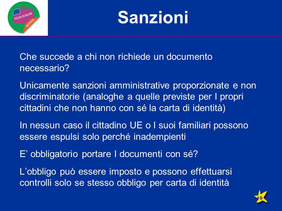 Sanzioni Che succede a chi non richiede un documento necessario.