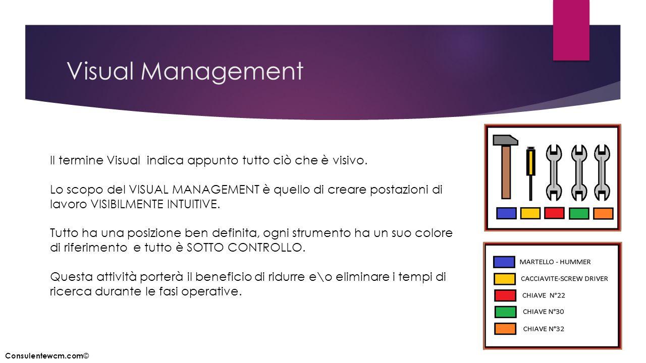 Visual Management Il termine Visual indica appunto tutto ciò che è visivo. Lo scopo del VISUAL MANAGEMENT è quello di creare postazioni di lavoro VISI