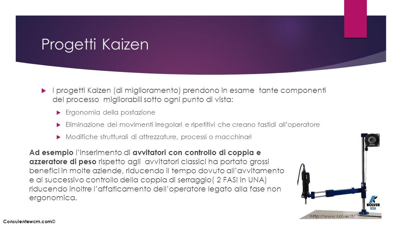 Progetti Kaizen  I progetti Kaizen (di miglioramento) prendono in esame tante componenti del processo migliorabili sotto ogni punto di vista:  Ergon