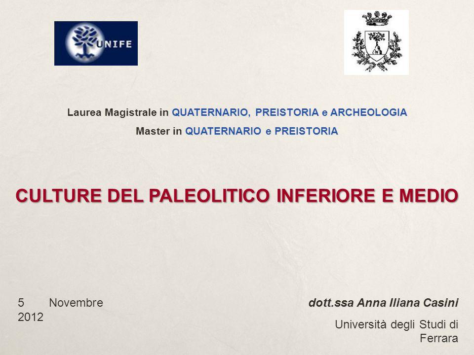 Laurea Magistrale in QUATERNARIO, PREISTORIA e ARCHEOLOGIA Master in QUATERNARIO e PREISTORIA CULTURE DEL PALEOLITICO INFERIORE E MEDIO dott.ssa Anna