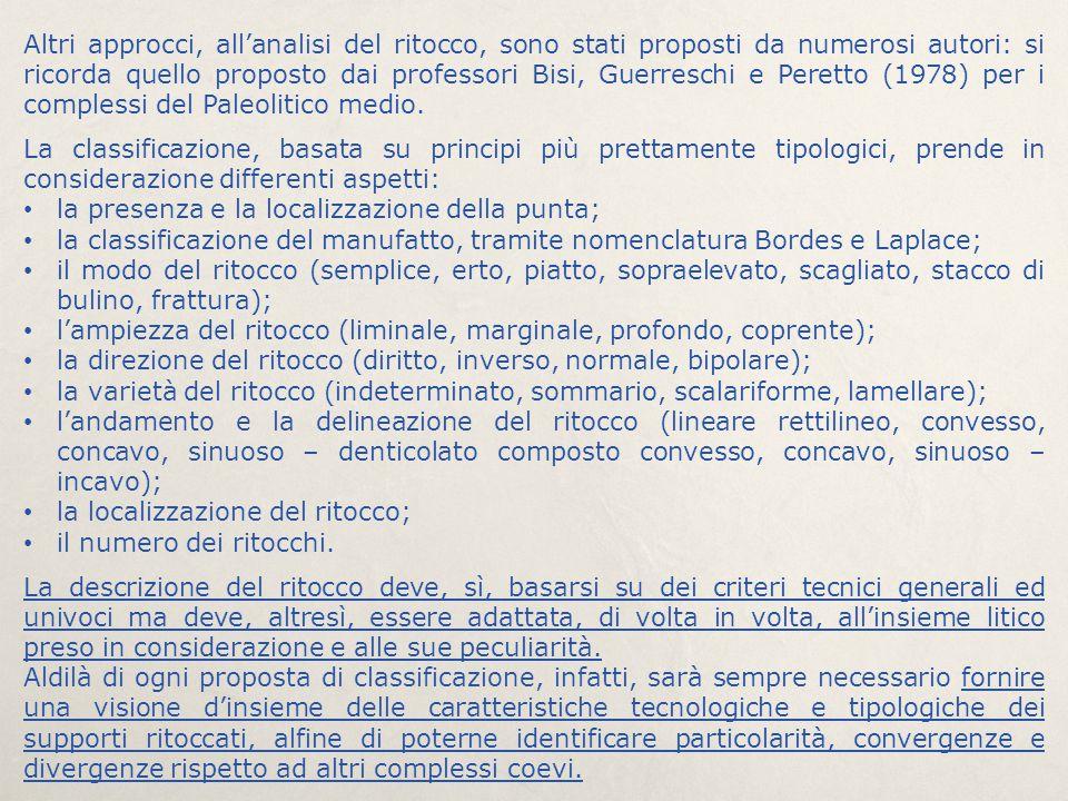 Altri approcci, all'analisi del ritocco, sono stati proposti da numerosi autori: si ricorda quello proposto dai professori Bisi, Guerreschi e Peretto
