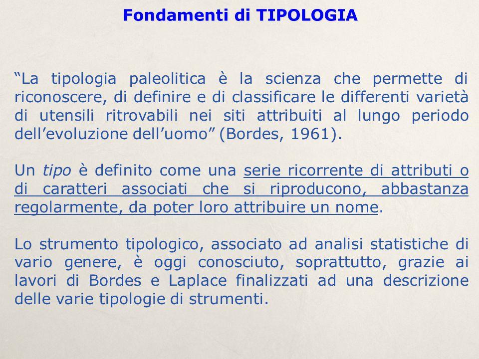 """Fondamenti di TIPOLOGIA """"La tipologia paleolitica è la scienza che permette di riconoscere, di definire e di classificare le differenti varietà di ute"""