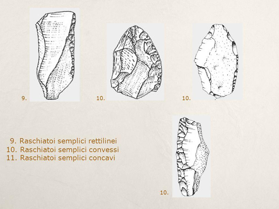 9. Raschiatoi semplici rettilinei 10. Raschiatoi semplici convessi 11. Raschiatoi semplici concavi 9.10.