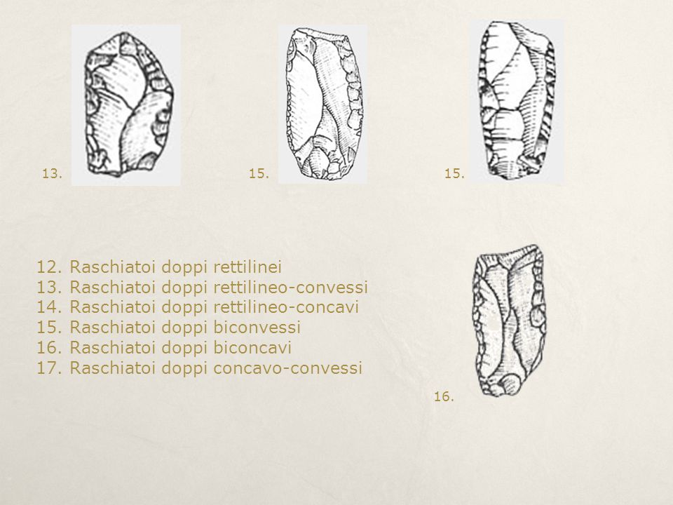 12. Raschiatoi doppi rettilinei 13. Raschiatoi doppi rettilineo-convessi 14. Raschiatoi doppi rettilineo-concavi 15. Raschiatoi doppi biconvessi 16. R