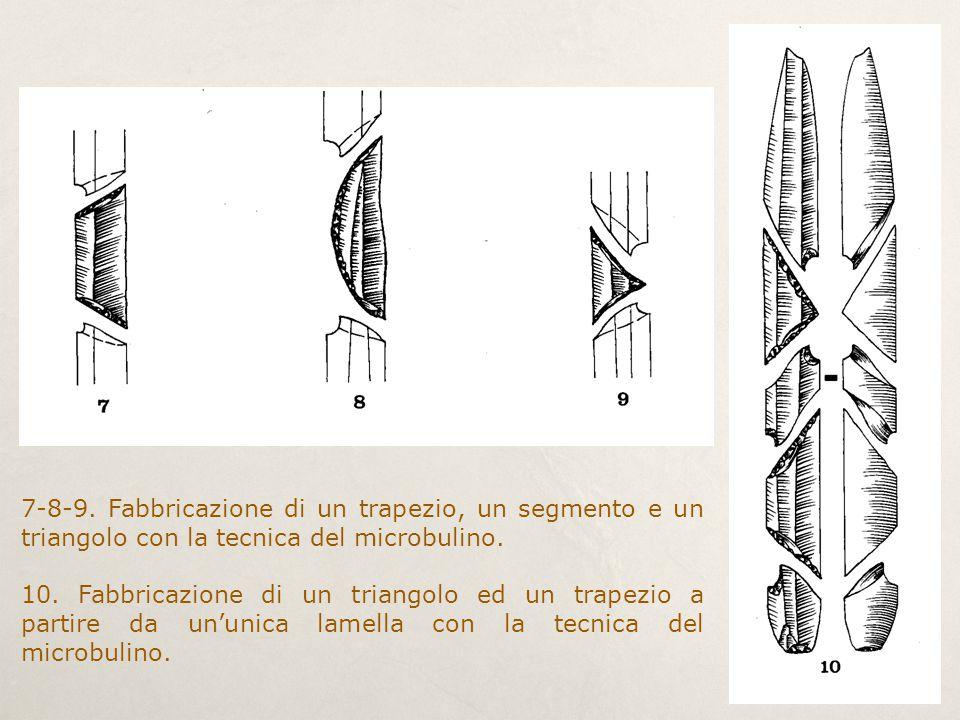 7-8-9. Fabbricazione di un trapezio, un segmento e un triangolo con la tecnica del microbulino. 10. Fabbricazione di un triangolo ed un trapezio a par