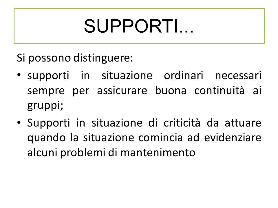 Si possono distinguere: supporti in situazione ordinari necessari sempre per assicurare buona continuità ai gruppi; Supporti in situazione di criticit