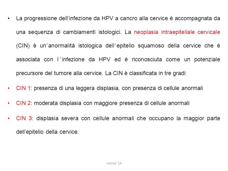 La progressione dell'infezione da HPV a cancro alla cervice è accompagnata da una sequenza di cambiamenti istologici.
