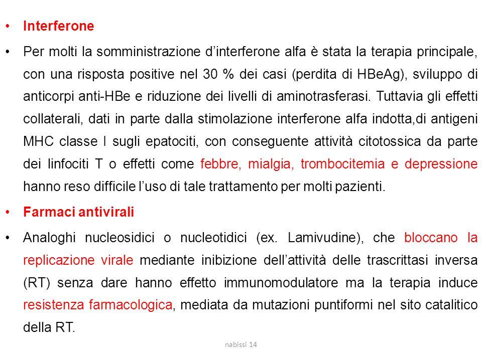 Interferone Per molti la somministrazione d'interferone alfa è stata la terapia principale, con una risposta positive nel 30 % dei casi (perdita di HBeAg), sviluppo di anticorpi anti-HBe e riduzione dei livelli di aminotrasferasi.