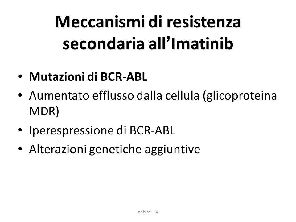 Meccanismi di resistenza secondaria all'Imatinib Mutazioni di BCR-ABL Aumentato efflusso dalla cellula (glicoproteina MDR) Iperespressione di BCR-ABL Alterazioni genetiche aggiuntive nabissi 14