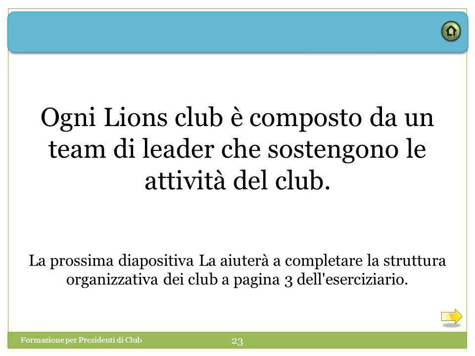 Formazione per Presidenti di Club 23 Ogni Lions club è composto da un team di leader che sostengono le attività del club.