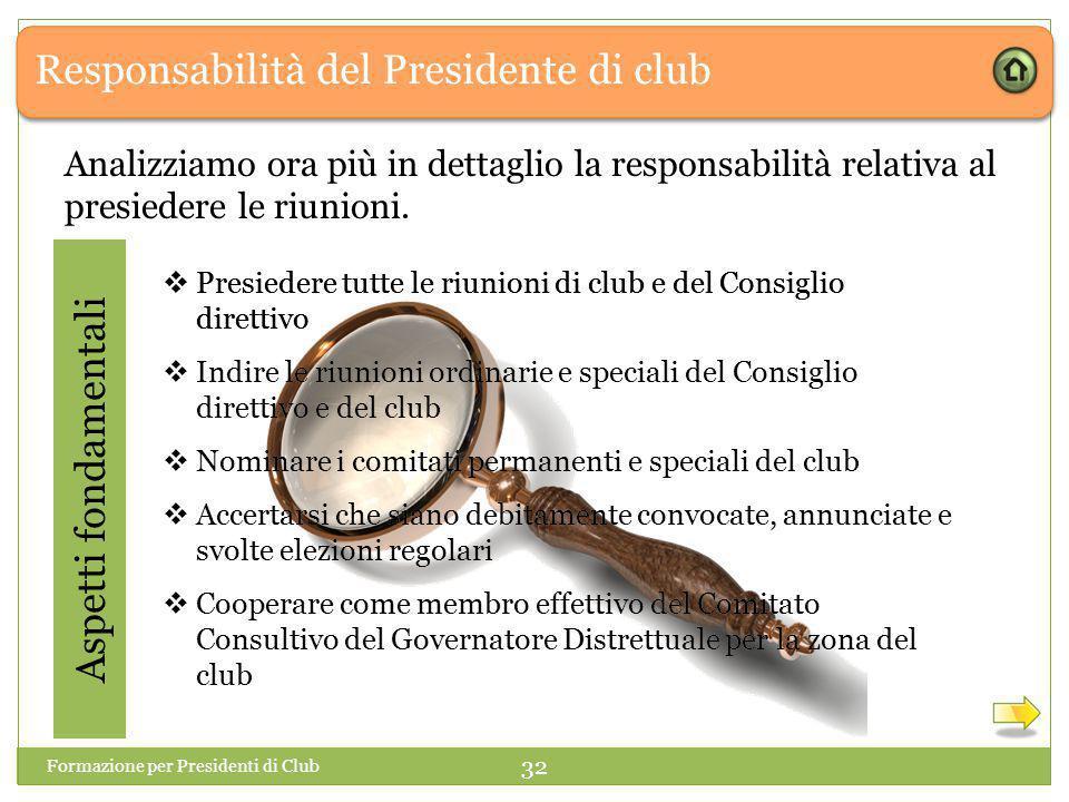 Responsabilità del Presidente di club Analizziamo ora più in dettaglio la responsabilità relativa al presiedere le riunioni.