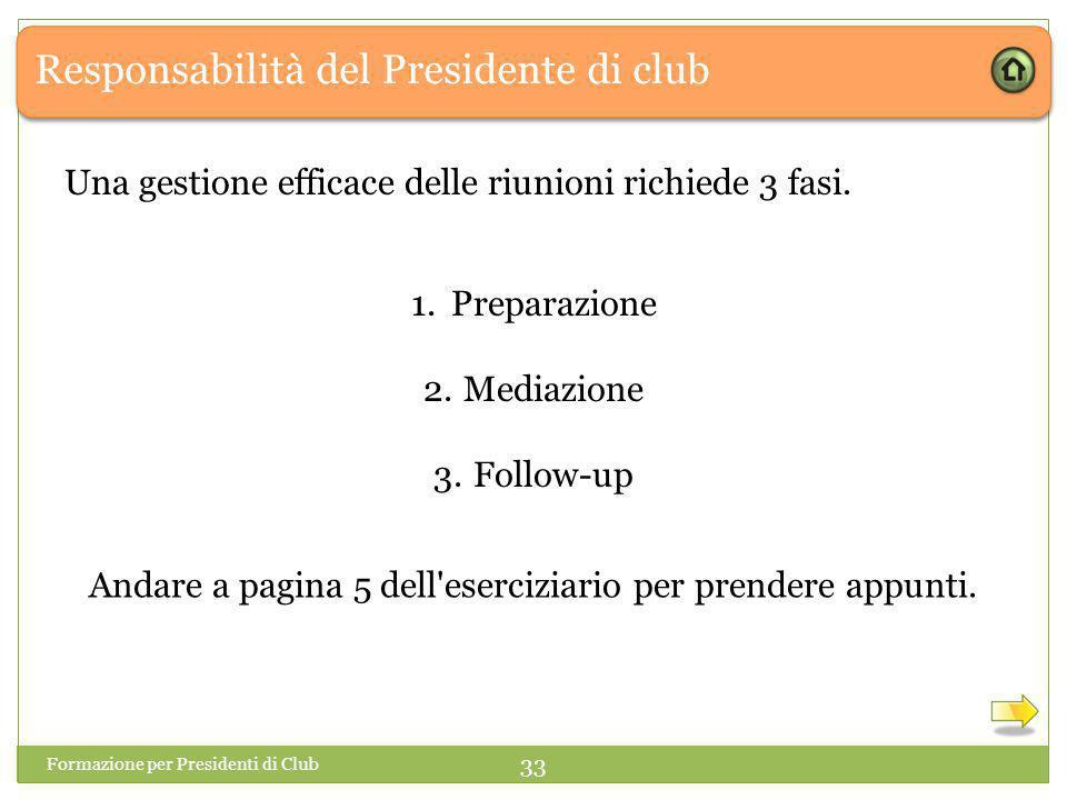 Responsabilità del Presidente di club Una gestione efficace delle riunioni richiede 3 fasi.