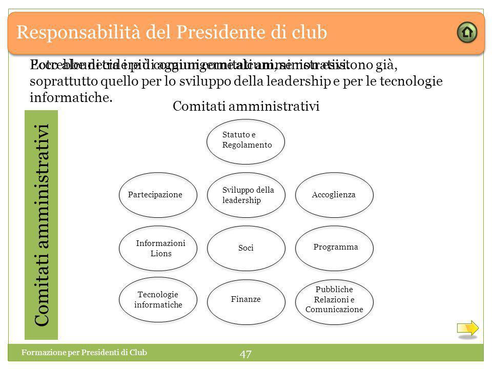 Responsabilità del Presidente di club Ecco alcuni tra i più comuni comitati amministrativi.