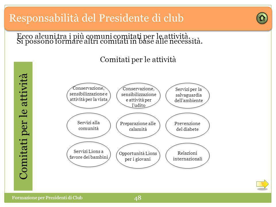 Responsabilità del Presidente di club Comitati per le attività Si possono formare altri comitati in base alle necessità.