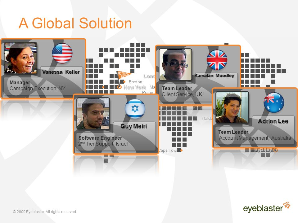 © 2009 Eyeblaster. All rights reserved A Global Solution Hong Kong Singapore K. Lumpur Taipei Bangkok Tokyo Guangzhou Beijing Haidarabad Lahore Athens
