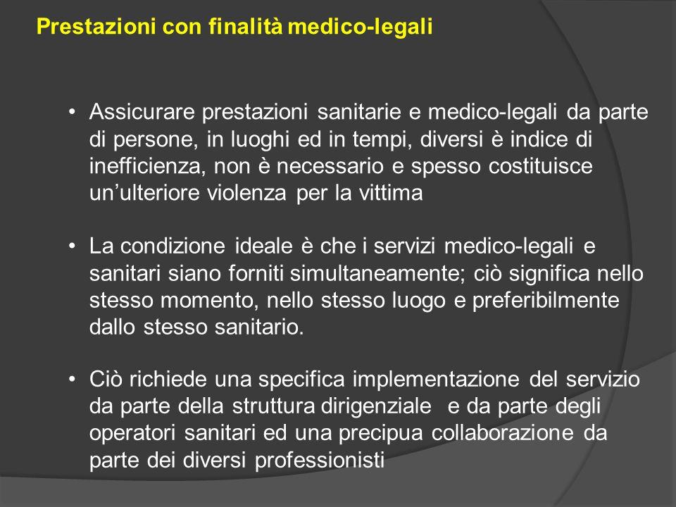 Prestazioni con finalità medico-legali Assicurare prestazioni sanitarie e medico-legali da parte di persone, in luoghi ed in tempi, diversi è indice d
