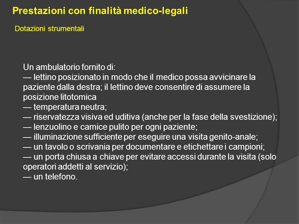 Un ambulatorio fornito di: — lettino posizionato in modo che il medico possa avvicinare la paziente dalla destra; il lettino deve consentire di assume