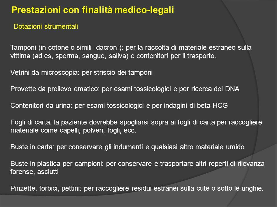 Tamponi (in cotone o simili -dacron-): per la raccolta di materiale estraneo sulla vittima (ad es, sperma, sangue, saliva) e contenitori per il traspo