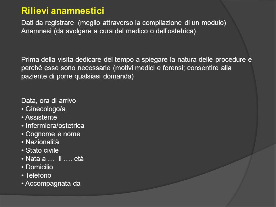 Dati da registrare (meglio attraverso la compilazione di un modulo) Anamnesi (da svolgere a cura del medico o dell'ostetrica) Data, ora di arrivo Gine