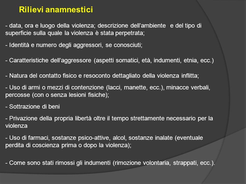 - data, ora e luogo della violenza; descrizione dell'ambiente e del tipo di superficie sulla quale la violenza è stata perpetrata; Rilievi anamnestici