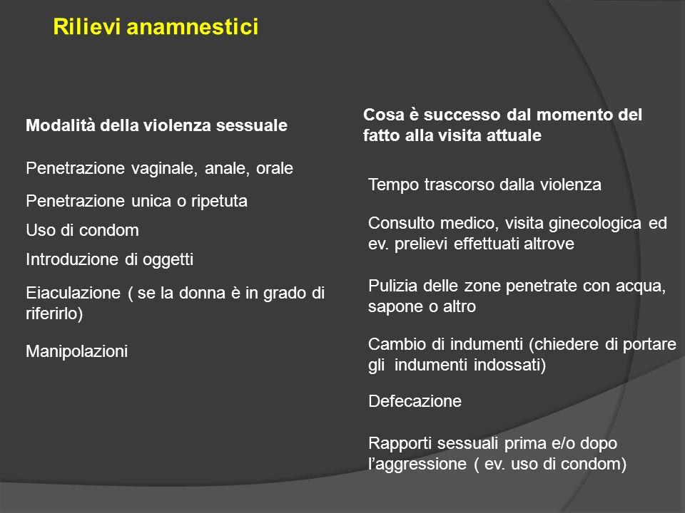 Tempo trascorso dalla violenza Modalità della violenza sessuale Rilievi anamnestici Penetrazione vaginale, anale, orale Penetrazione unica o ripetuta