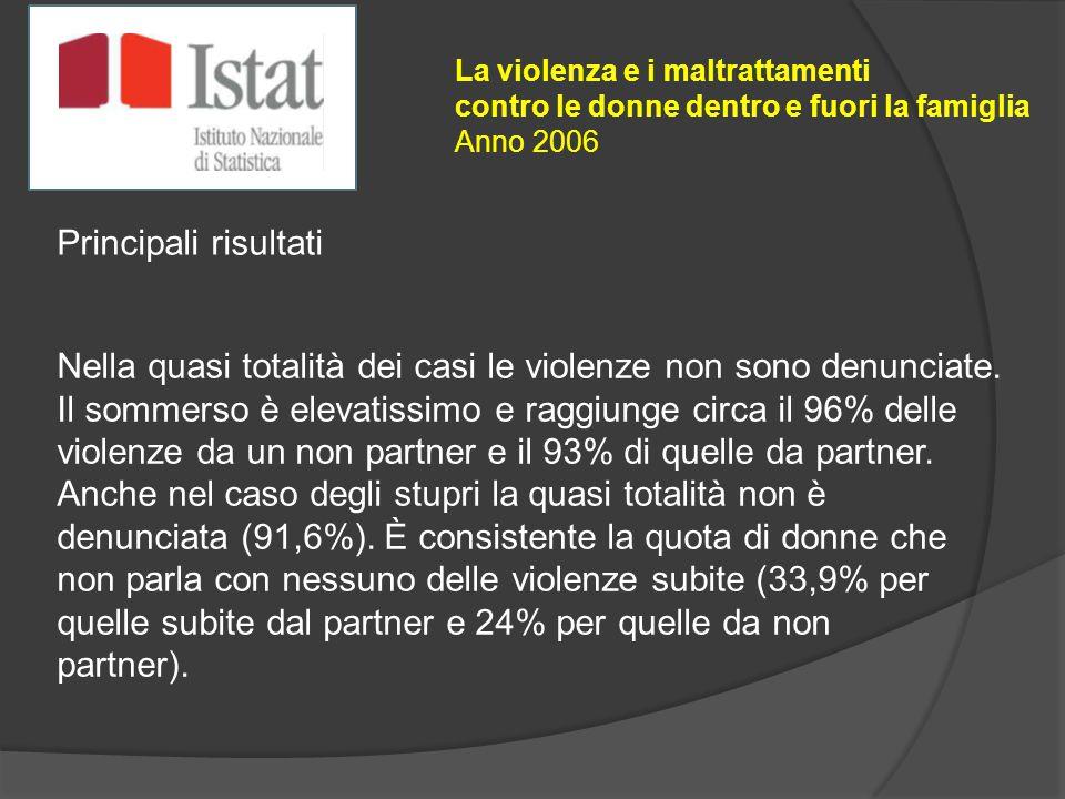 La violenza e i maltrattamenti contro le donne dentro e fuori la famiglia Anno 2006 Principali risultati Nella quasi totalità dei casi le violenze non