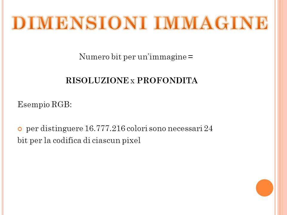 Numero bit per un'immagine = RISOLUZIONE x PROFONDITA Esempio RGB: per distinguere 16.777.216 colori sono necessari 24 bit per la codifica di ciascun